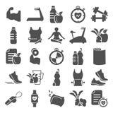 Forma fisica ed icone semplici di formazione per il web e la progettazione mobile Fotografia Stock Libera da Diritti