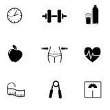 Forma fisica, icone di sport su fondo bianco Fotografia Stock Libera da Diritti