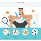 Forma fisica Infographics Donne con i dispositivi di sport Fotografie Stock