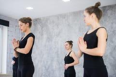 Forma fisica, meditazione e concetto sano di stile di vita - gruppo di persone che fanno yoga nella posa dell'albero allo studio immagine stock