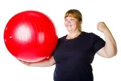 Forma fisica per la donna grassa Fotografie Stock