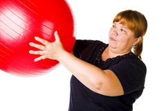 Forma fisica per la donna grassa Fotografia Stock