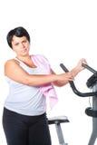 Forma fisica per la donna grassa Fotografie Stock Libere da Diritti
