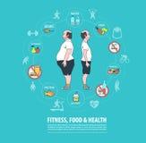 Forma fisica, sport, alimento, concetto di salute Perdita di peso Fotografia Stock Libera da Diritti