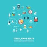 Forma fisica, sport, alimento, salute infographic Fotografia Stock Libera da Diritti