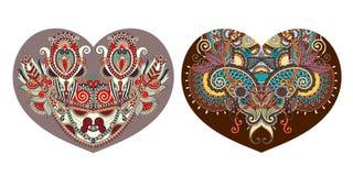 Forma floreale ornamentale del cuore a progettazione di giorno di biglietti di S. Valentino illustrazione di stock