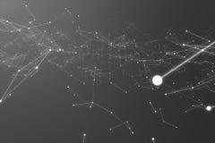 Forma futurista da conexão tecnologico Gray Dot Network Fundo abstrato, Gray Background Conceito da rede Fotos de Stock