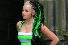 Forma gótico com extensões do cabelo fotografia de stock royalty free