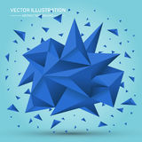 Forma geométrica del volumen Forma geométrica poligonal abstracta cristales del azul 3d Imagen de archivo libre de regalías