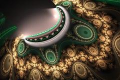 A forma geométrica do fractal pode ilustrar dos sonhos psicadélicos do espaço da imaginação da fantasia a explosão nuclear mágica Fotos de Stock Royalty Free