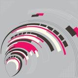 A forma geométrica moderna da tecnologia abstrata curvou a espiral com ilustração stock
