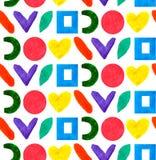 Forma geométrica y las formas del modelo inconsútil diversa circundan, ajustan, corazón en arco iris del color en el fondo blanco ilustración del vector