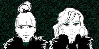 Forma girls Face da mulher Senhoras bonitas Bonito e você ilustração royalty free