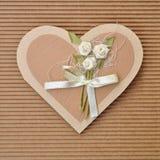 Forma Handmade do coração do amor do cartão de papel Imagens de Stock