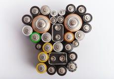 Forma hecha de las diversas baterías - pollutio ambiental del cráneo Fotos de archivo libres de regalías