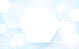 Forma hexagonal abstracta que repite en fondo azul y blanco Foto de archivo