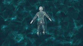 Forma humana abstracta animación 3D del cyborg masculino en un fondo digital con las partículas cibernéticas libre illustration