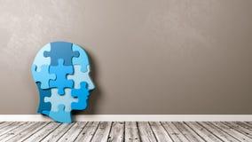 Forma humana da cabeça do enigma no assoalho de madeira contra a parede Imagens de Stock