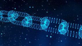 Forma illuminata digitale di Blockchain concetto della base di nodo di dati 3 royalty illustrazione gratis