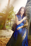 Forma indiana no sari Imagens de Stock Royalty Free