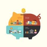 Forma infographic de la hucha del concepto del ahorro de la inversión empresarial Foto de archivo libre de regalías