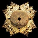 Forma iterada fractal de oro abstracto stock de ilustración