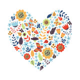 Forma linda del corazón del vintage con las flores Imagen de archivo