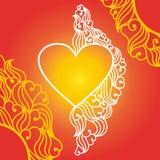 Forma lineare del cuore della cornice con le foglie Fotografie Stock Libere da Diritti