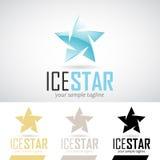 Forma Logo Icon della stella blu del ghiaccio Immagine Stock
