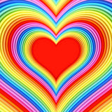 Forma lucida variopinta del cuore con il centro rosso Fotografia Stock Libera da Diritti
