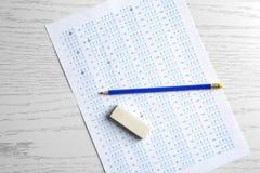 Forma, matita e gomma dell'esame immagini stock libere da diritti