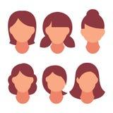 Forma moderna da mulher bonita do penteado para a variedade cabelo longo, cabelo curto, penteados do cabeleireiro e na moda encar ilustração do vetor