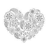 Forma monocromática do coração com as flores e as folhas do mehendi isoladas Imagens de Stock