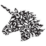 Forma monocromática, silhueta do unicórnio mágico no preto e branco Imagem de Stock Royalty Free