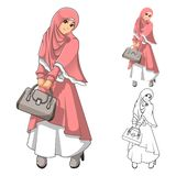 Forma muçulmana da menina que veste o véu ou o lenço verde com revestimento amarelo e botas ilustração stock