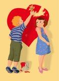 Forma, muchacho y muchacha del corazón en amor. Fotografía de archivo