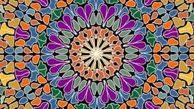 Forma multicolora giratoria y de enfoque del círculo del mosaico, fondo video integrado por fragmentos coloridos ilustración del vector