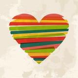 Forma multicolore d'annata di amore del cuore Immagini Stock