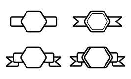 Forma nera d'annata di esagono con il nastro su fondo bianco Immagine Stock