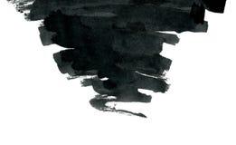 Forma nera dell'estratto dell'inchiostro isolata su bianco Fotografie Stock