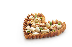 Forma Nuts misturada do coração Foto de Stock Royalty Free