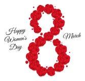 Forma ocho de rosas rojas Enhorabuena al octava del día de las mujeres en marzo Foto de archivo libre de regalías