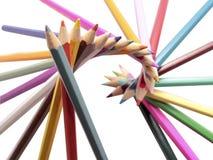Forma original del espiral del color de los lápices Foto de archivo libre de regalías
