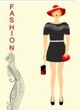 Forma para meninas preto e vermelho Imagem de Stock
