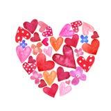 Forma pintado à mão do coração da aquarela com herts vermelhos e cor-de-rosa pequenos para dentro Símbolos do dia de Valentim ilustração royalty free