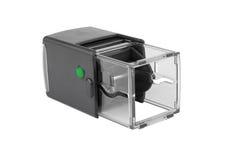 Forma plástica automática do quadrado do selo da mão Com o botão verde Fotografia de Stock Royalty Free