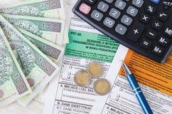 Forma polacca di imposta con contanti Fotografia Stock Libera da Diritti