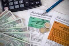 Forma polacca di imposta con contanti Immagine Stock