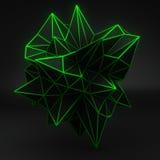 Forma poligonale 3D di incandescenza verde sul nero Fotografie Stock