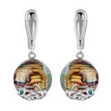 Forma redonda de prata dos brincos à moda Imagens de Stock Royalty Free